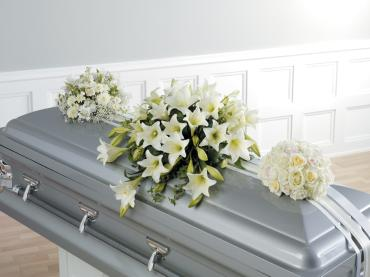 White casket Sprays