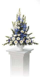 Blue iris and daisy funeral basket