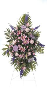 Lavender & Pink Standing Funeral Spray