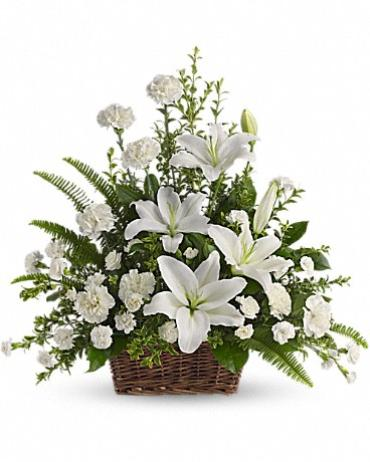 Peaceful White Lily Basket