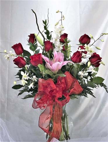 1 Doz Premium Rose with Lily & Orchid