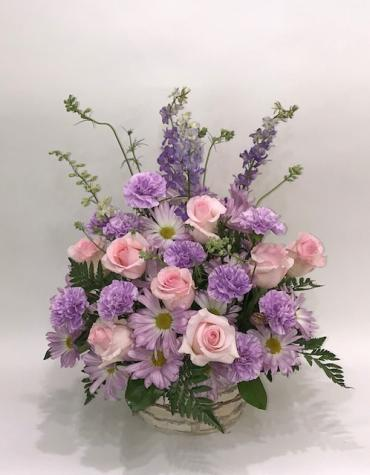 Basket Arrangement in Pastel Purple and Pinks